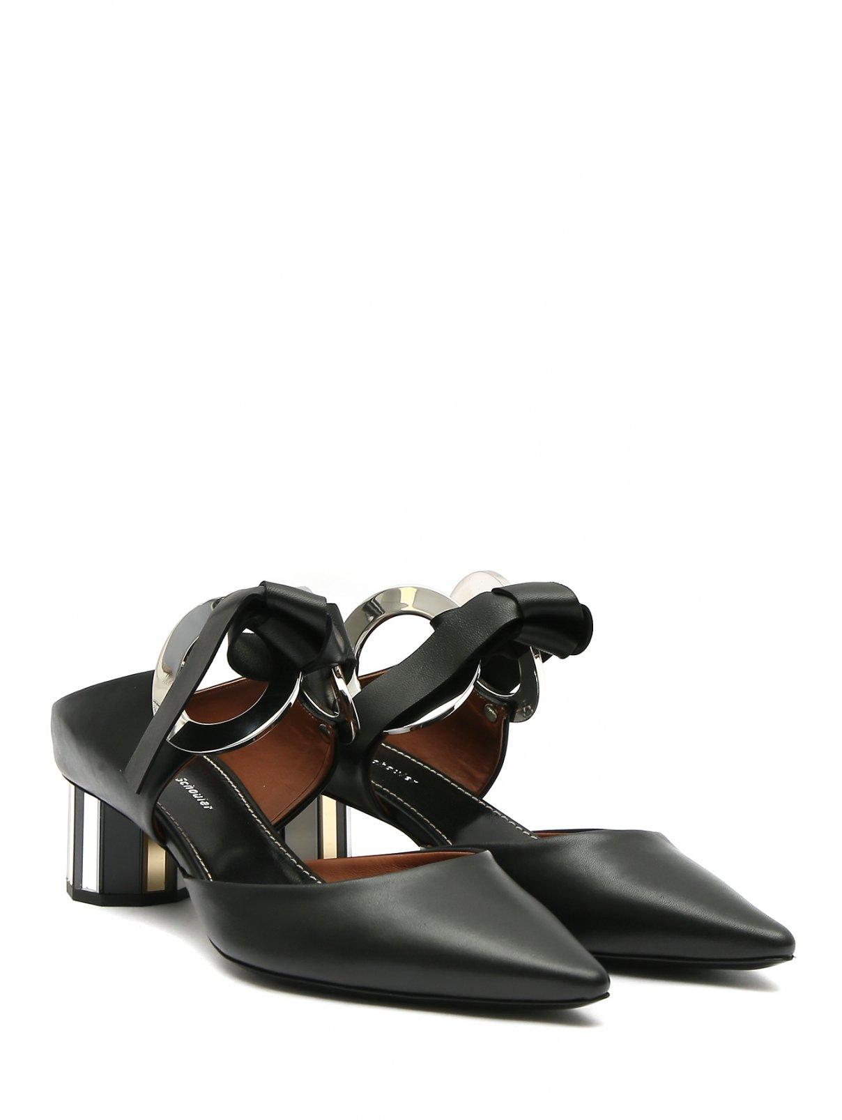 Мули на зеркальном каблуке с металлическим декором Proenza Schouler  –  Общий вид  – Цвет:  Черный
