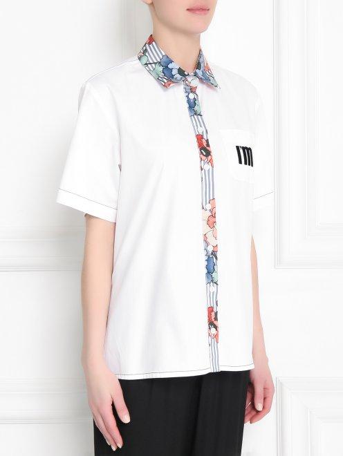 Рубашка из хлопка с коротким рукавом и контрастной отделкой - МодельВерхНиз