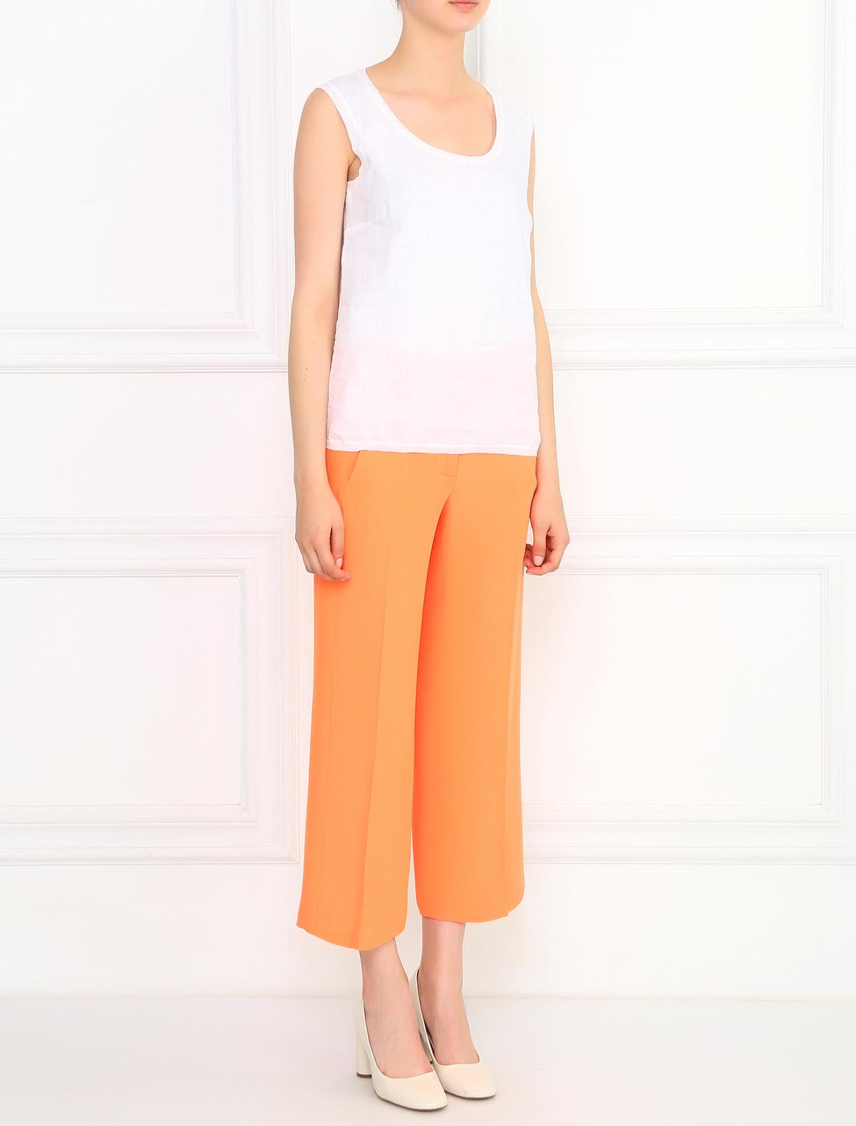 Укороченные брюки свободного кроя из смешанного шелка Cedric Charlier  –  Модель Общий вид  – Цвет:  Оранжевый