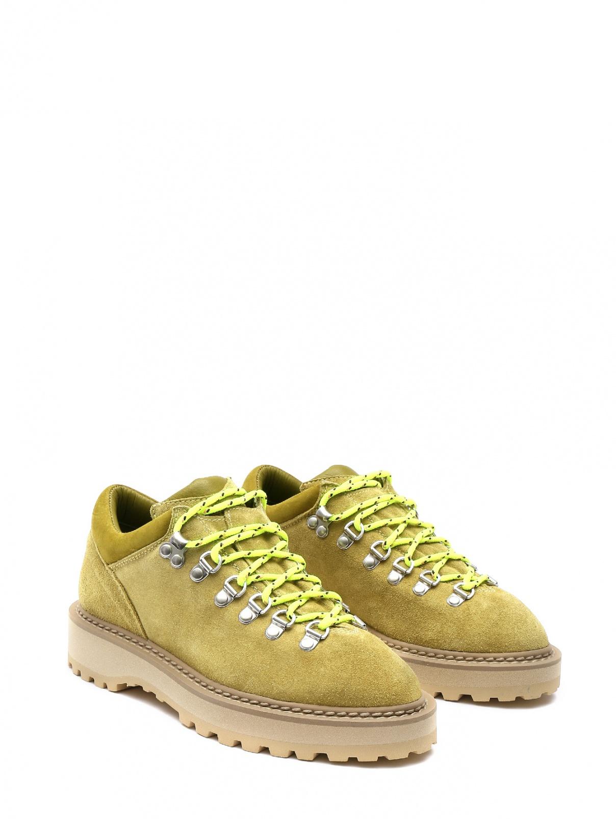 Ботинки замшевые на шнуровке Diemme  –  Общий вид  – Цвет:  Зеленый