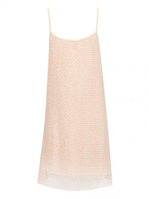 Фактурное платье на тонких бретелях - Общий вид