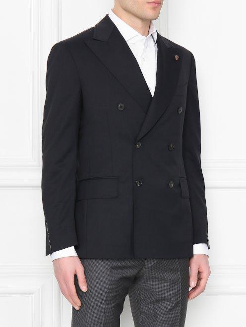 Пиджак двубортный из шерсти - МодельВерхНиз